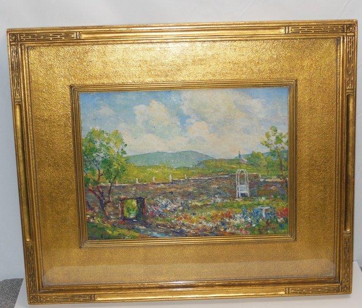 """257: Cullen Yates """"Oldorf Flower Garden"""" Painting"""