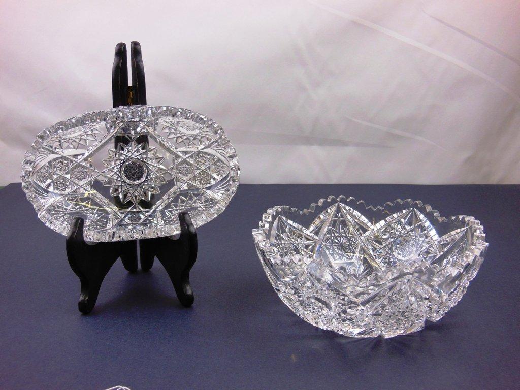 Brilliant Cut oval cut glass tray