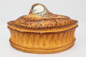 Porcelain DeParis France Covered Quail Dish