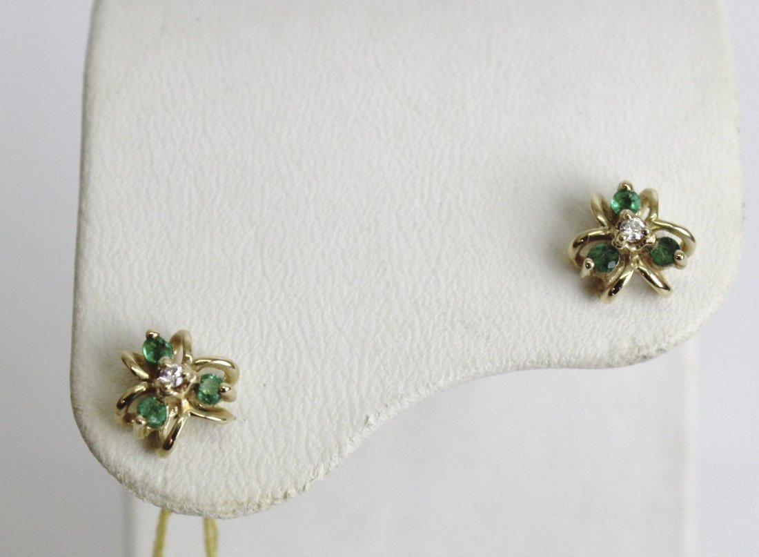 14K EMERALD - DIAMOND CLUSTERS