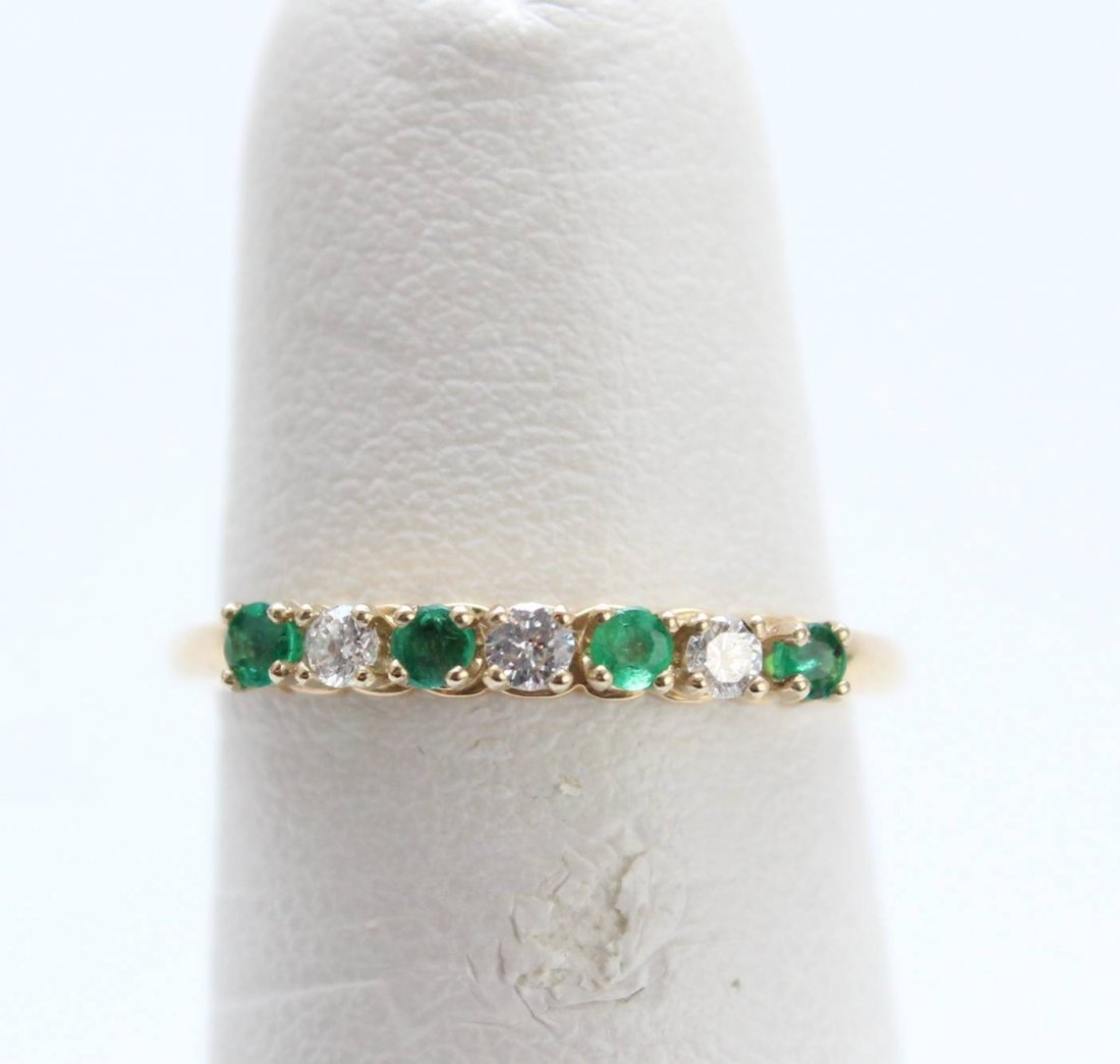 EMERALD DIAMOND WEDDING BAND