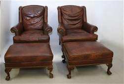 PR HICKORY LEATHER ARM CHAIRS
