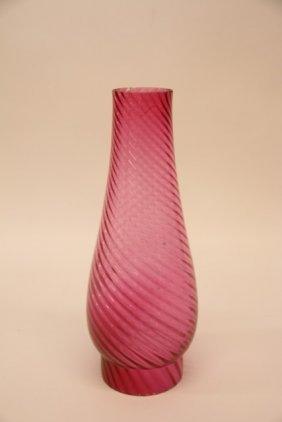 Cranberry Glass Swirl Chimney