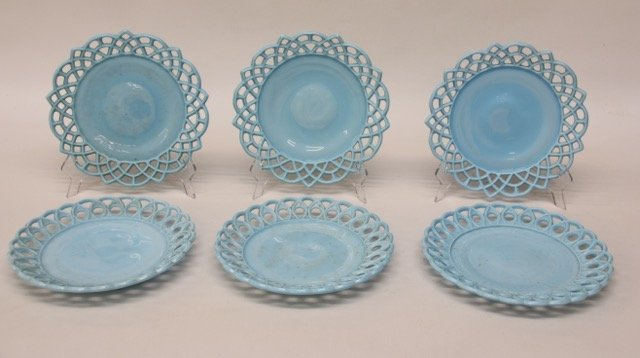6 - MILK GLASS PLATES