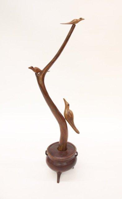 CARVED FOLK ART BIRD SCULPTURE