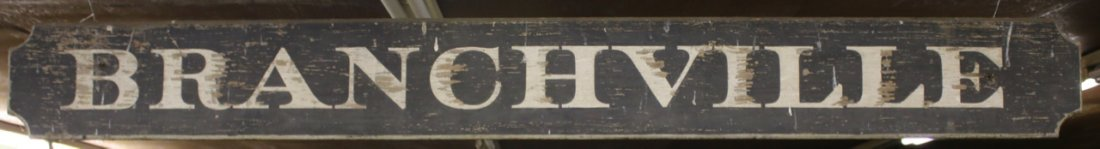 ANTIQUE RAILROAD STATION SIGN