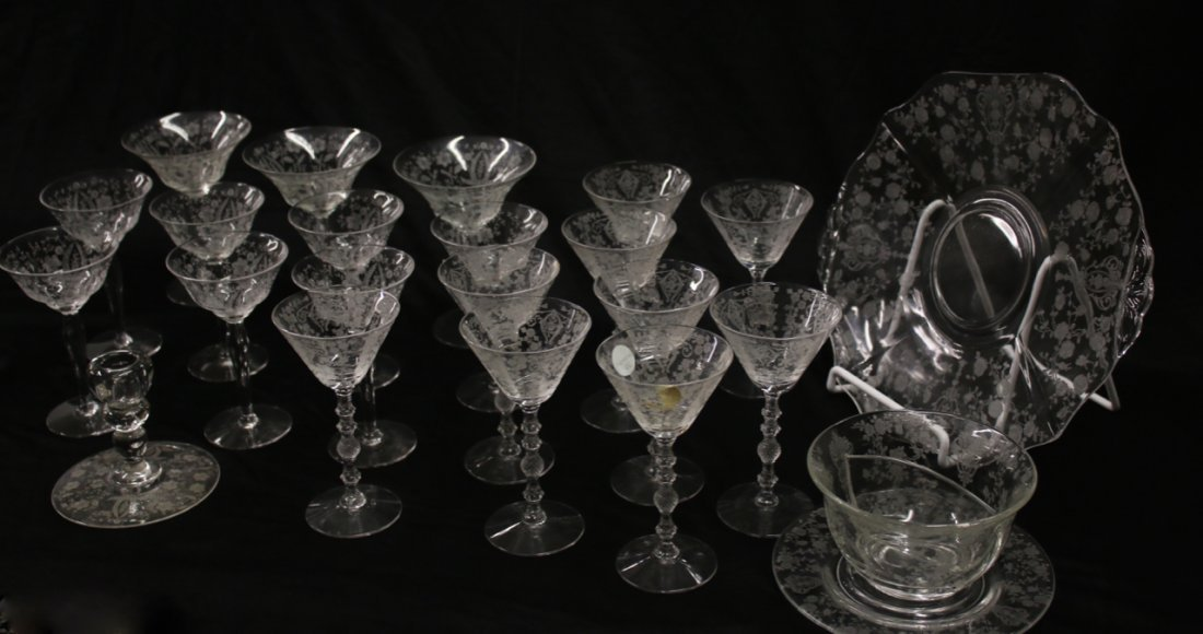 (23 PC'S) CLEAR GLASS ETCHED FOSTORIA
