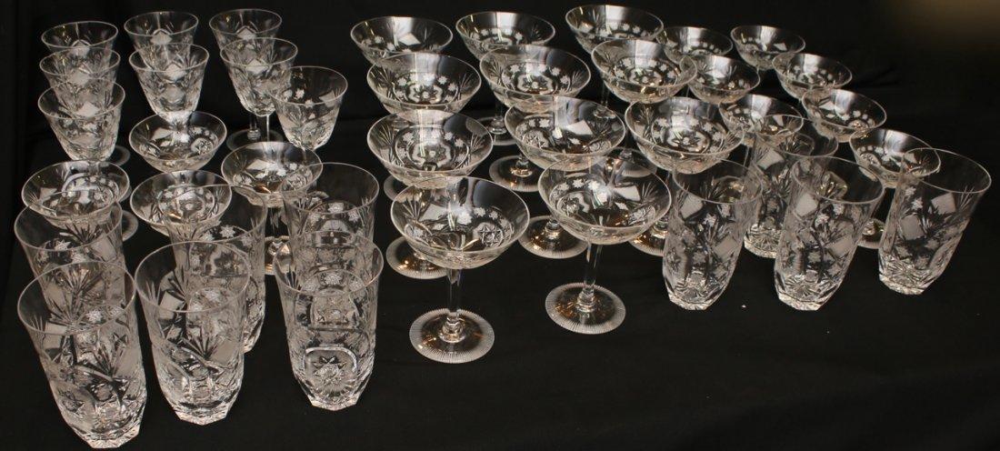 47 PCS OF CUT GLASS STEMWARE