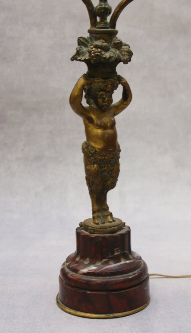 BRONZE AND MARBLE FRENCH LAMP - 2