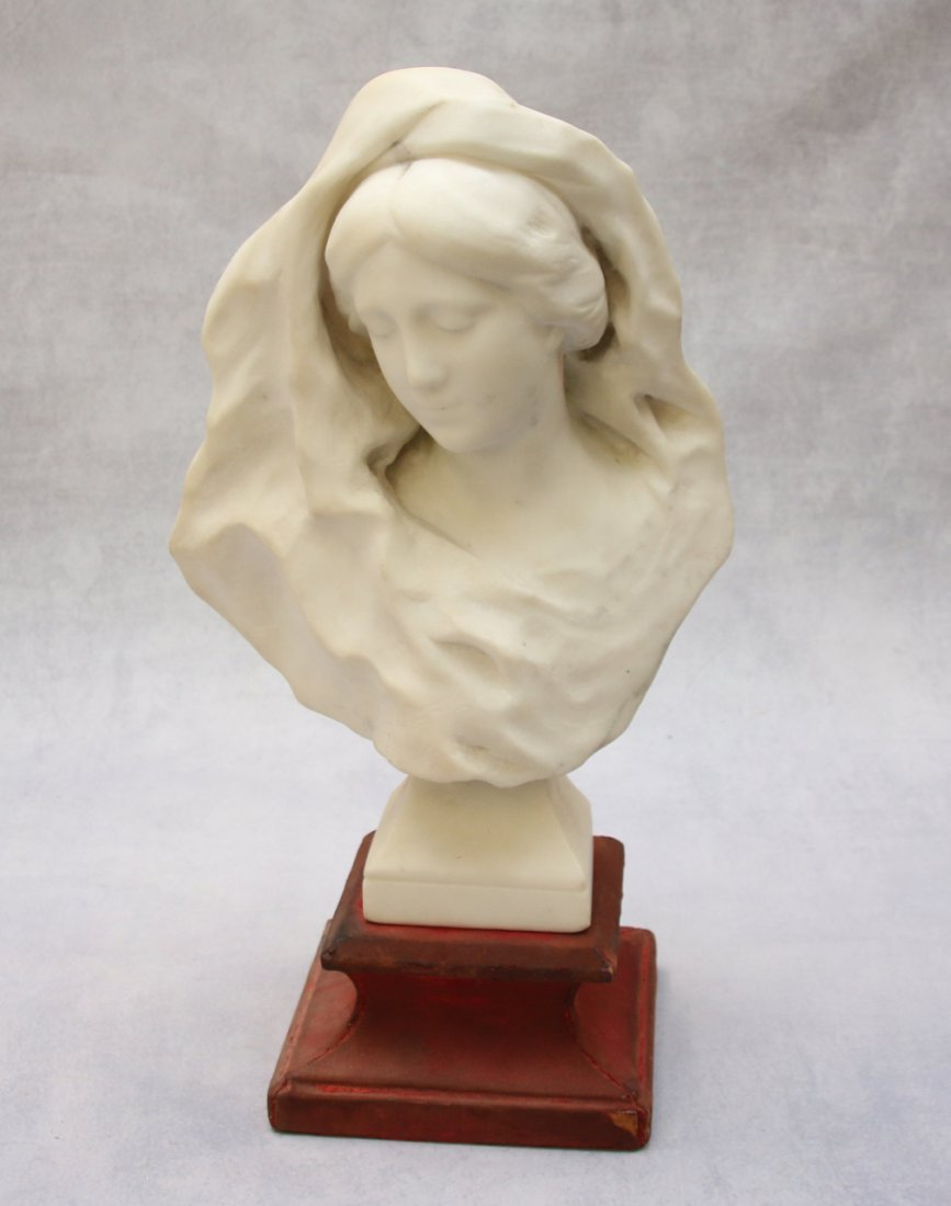 FRENCH MARBLE BUST WITH WOODEN BASE