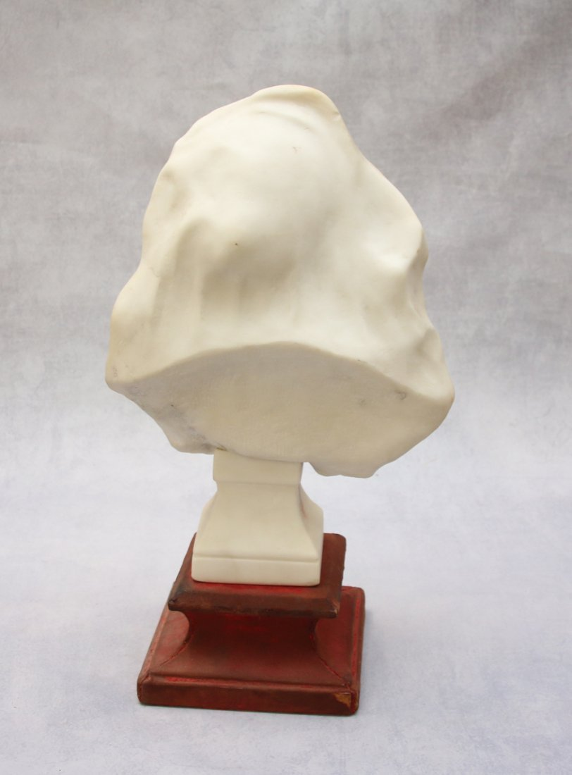 FRENCH MARBLE BUST WITH WOODEN BASE - 2