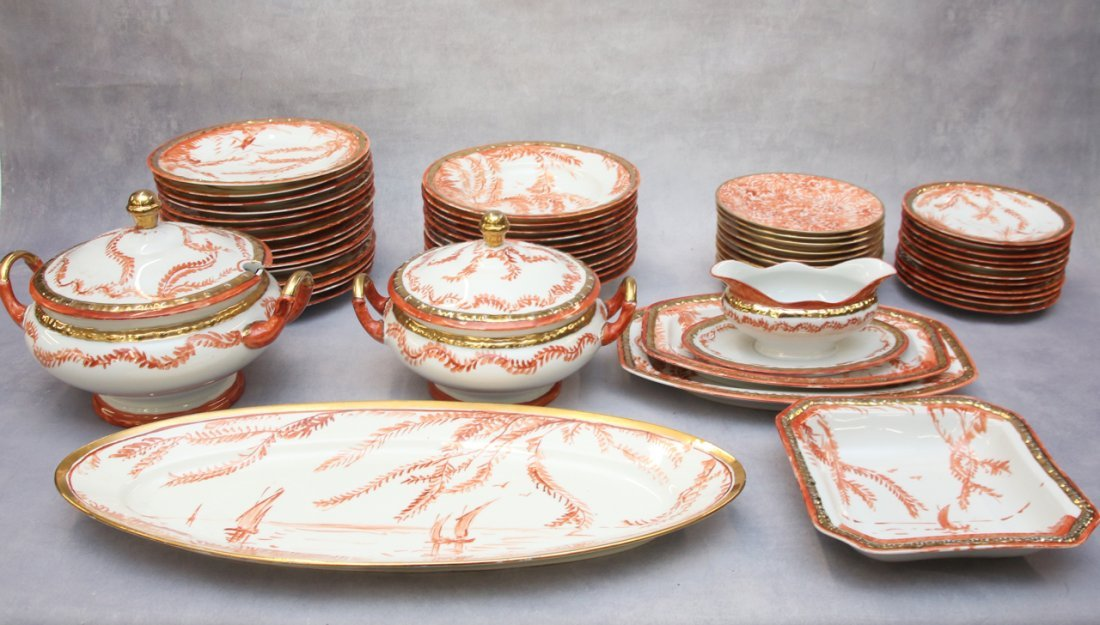SET OF HAND PAINTED PORCELAIN