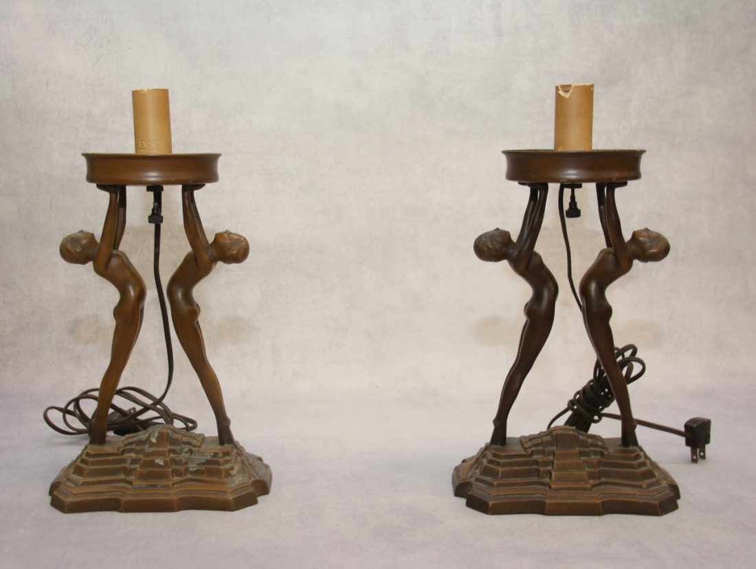 ART DECO FIGURAL TABLE LIGHTS
