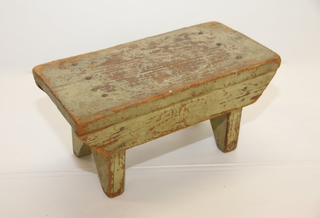 PAINTED WOODEN FOOT STOOL - 2