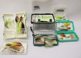 LOT OF FLY FISHING BOXES WITH FLIES