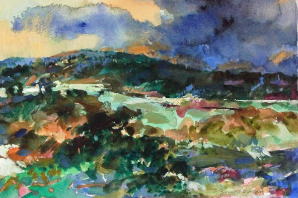 2: ZIMMERMAN (AMERICAN) Landscape Watercolor