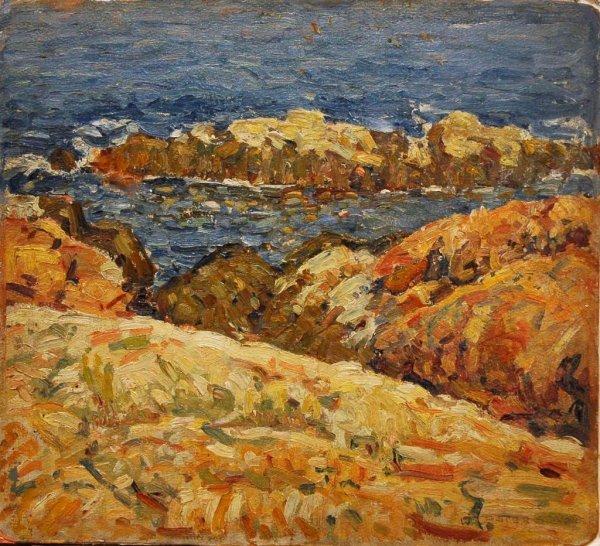 1011: STEVENS (AMERICAN) Gloucester Bass Rocks Oil