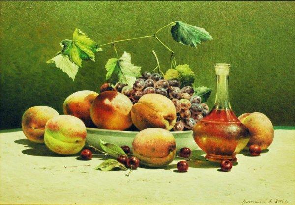 1020: GRIBENNIKOV (RUSSIAN) Still Life with Peaches Oil