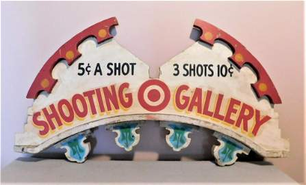 """Wooden """"Shooting Gallery"""" Sign"""