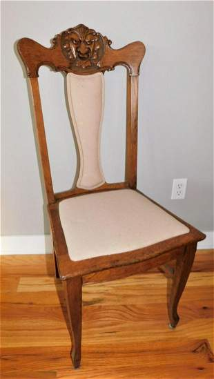 Set of 6 Carved Oak Dining Chairs