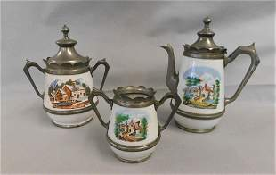 Lot of 3 Pewter Graniteware Coffee Pots