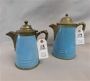 Lot of 2 Pewter Graniteware Coffee Pots
