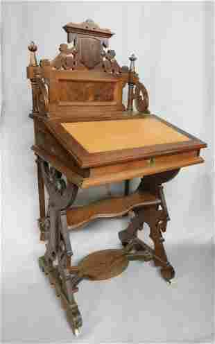 Walnut Victorian Davenport Desk