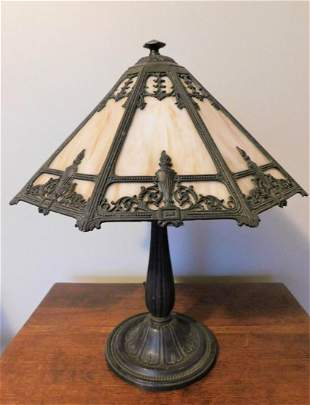 B & H Slag Glass Parlor Lamp