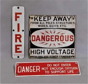 Lot of 3 Vintage Porcelain Signs