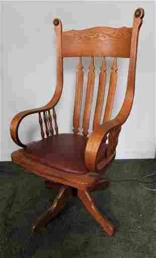 Slat Back Oak Swivel Office Chair
