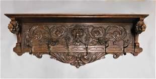 Heavily Carved  Oak Wall Coat & Hat Shelf