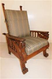 Solid Oak Morris Chair with Griffin Carvings