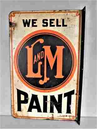 """Vintage Metal """" L & M Paint"""" Sign"""