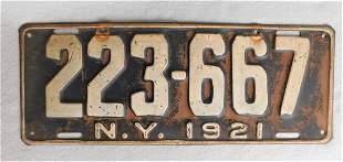 Original 1921 NY License Plate