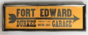 Vintage Ft. Edward Durkee Garage Sign