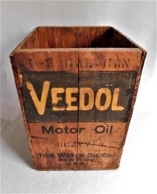 "Early Wooden ""Veedol Motor Oil "" Box"