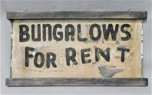 "Vintage Metal ""Bungalows For Rent"" Sign"