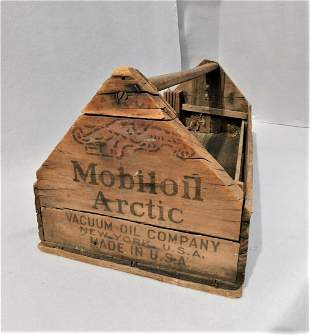"""Lg. Early Wooden Tool Box - """"Mobiloil Artic"""""""