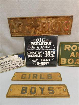 Lot of 5 Antique Metal Signs & 1 Paper Sign