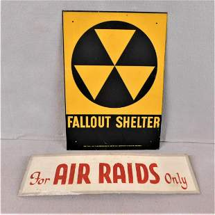 """Lot of 2 Vintage Signs - """"Air Raid"""" & """"Fallout Shelter"""""""