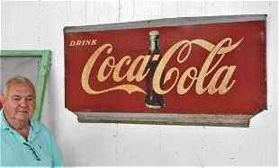 Lg.Vintage Metal Coca-Cola Sign