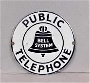 """Vintage Porcelain """"Public Telephone"""" Sign"""