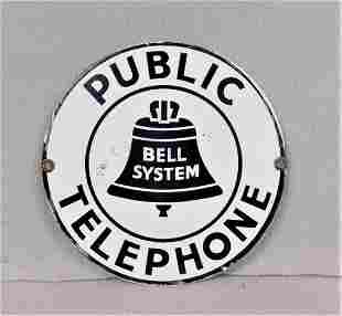 "Porcelain ""Public Telephone"" Sign"