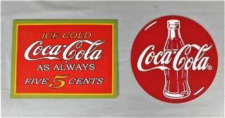 Lot of 2 Custom Coca-Cola Signs