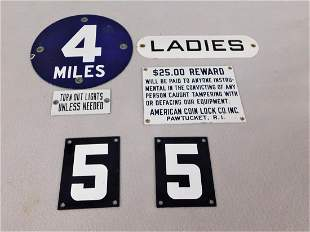 Lot of 6 Small Porcelain Signs