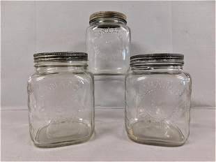 """Lot of 3 Vintage """"Monarch Fine Foods"""" Glass Jars"""