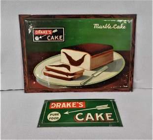 "Lot of 2 Vintage Tin ""Drake's Cakes"" Signs"