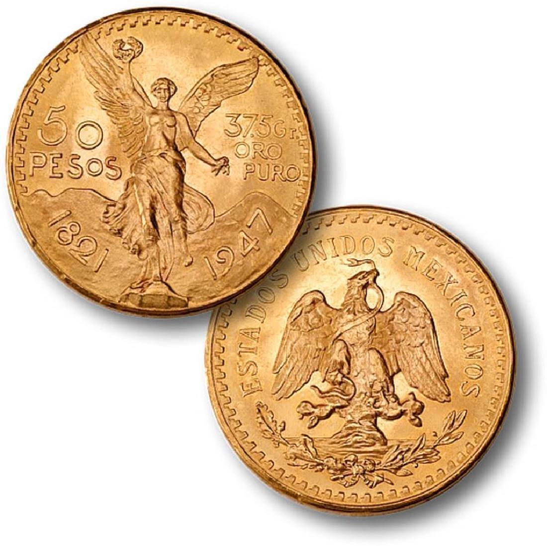 1947 Mexican 50 Peso Gold 1.2057 oz.