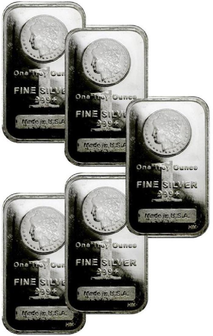 (5) Morgan Design Silver Bars 1 oz. Each