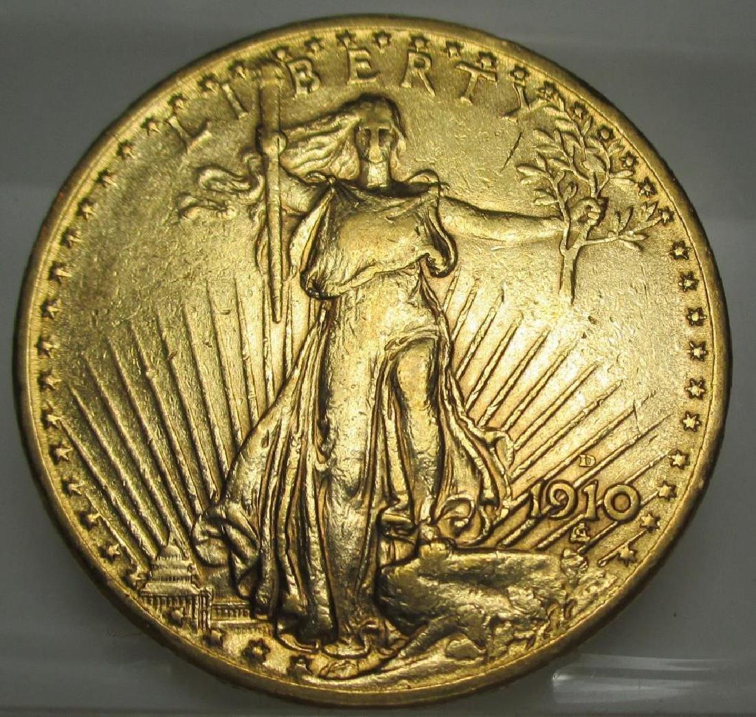 1910 D BETTER DATE $ 20 Saint Gauden's Gold